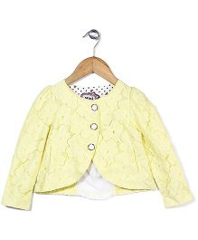 Mini Pink Floral Lace Shrug - Yellow