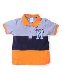 Poly Kids Trendy T-Shirt - Grey Orange & Blue