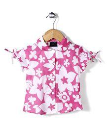 Miss Pretty Flower Print Shirt - White & Pink