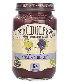 Rudolfs Organic Moms Delicious Puree Apple & Blueberry - 190 gm