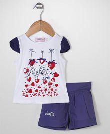 Sleeping Baby Heart Print Top & Shorts Set - Blue