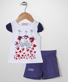Sleeping Baby Heart Print Top & Shorts Set - Blue