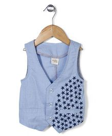 Petit Cucu Star Print Jacket - Light Blue