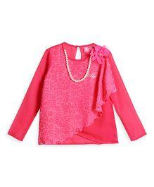 Barbie Long Sleeves Top Floral Applique - Pink