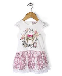 Sleeping Baby Dog Print Dress - White