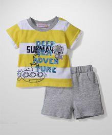 Sleeping Baby Deep Sea Adventure Print T-Shirt & Shorts - Yellow & Grey