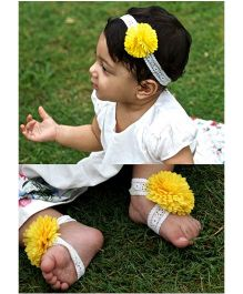 D'chica Headband & Barefoot Sandals Set - White & Yellow