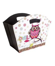 Little Nests Birdie Basket Owl Print - Multicolor