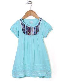 Dazzle Kid Floral Design Dress - Blue