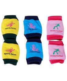 Jo Kidswear Baby Knee Cap Pack Of 3 - Yellow Light Blue Pink