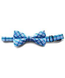 Milonee Plaid Bow Tie - Light Blue & White