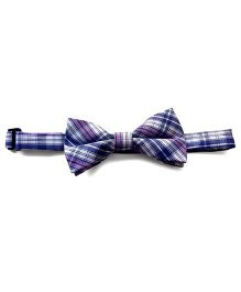 Milonee Plaid Bow Tie - Navy Blue & Purple