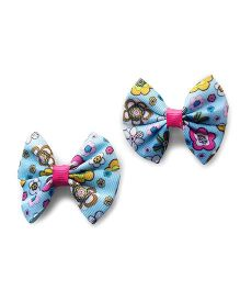 Milonee Floral Print Pair Of 2 Bow Clips - Multicolour