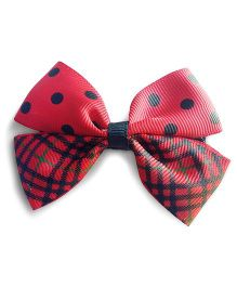 Milonee Polka & Checks Print Bow Clip - Red & Black
