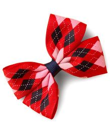Milonee Diamond Print Bow Clip - Red & Blue