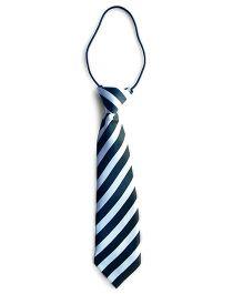 Milonee Cross Striped Pattern Tie - Black & White