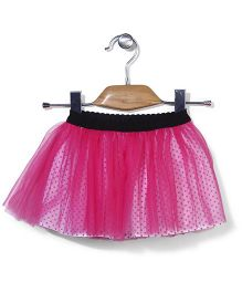 Petit CuCu Net Skirt With Dot Print - Pink