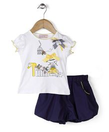 Sleeping Baby Floral & Girl Print Top & Shorts - Yellow