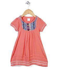 Dazzle Kid Floral Design Dress - Coral Pink