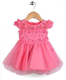 Tiny Girl Short Sleeves Party Frock Floral Appliques - Pink