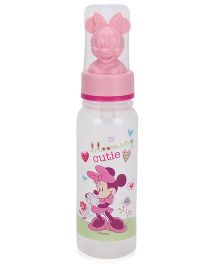 My Baby Excels Round Plastic Feeding Bottle With Minnie Hood White Pink - 236 ml