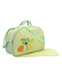 Mother Bag With Changing Mat Animals Embroidery - Green