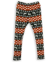 Lilliput Kids Full Length Leggings Allover Print - Brown Black
