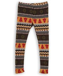 Lilliput Kids Full Length Leggings Allover Print - Dark Brown