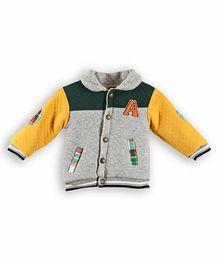 Lilliput Kids Full Sleeves Texture Pattern Sweat Jacket - Grey