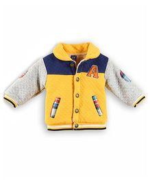 Lilliput Kids Full Sleeves Texture Pattern Sweat Jacket - Yellow