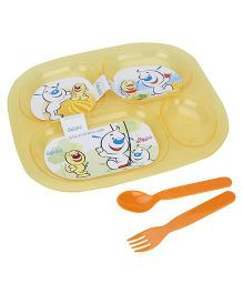 Pratap Ultra Transparent Plate With 4 Compartment - Yellow