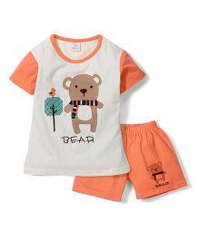 Urban Fashion Bear Print Shorts & Tee Set - Orange