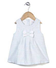 Elite Fashion Sleeveless Dress With Bow - Light Blue