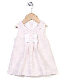 Elite Fashion Sleeveless Dress With Bow - Light Pink