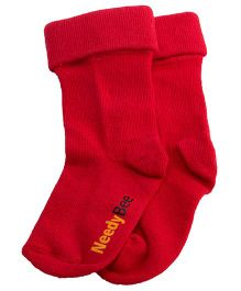 NeedyBee Cotton Socks With Fold - Red