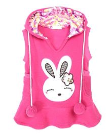 Funtoosh Kidswear Bunny Print Hoodie - Pink