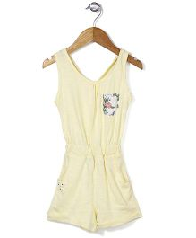 Palm Tree Sleeveless Solid Color Jumpsuit Floral Applique - Yellow