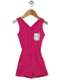Palm Tree Sleeveless Solid Color Jumpsuit Floral Applique - Pink