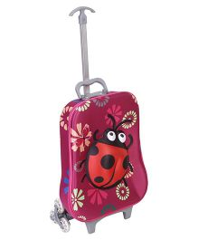 Luggage Trolley Bag Ladybug Design Dark Pink - 17 Inches