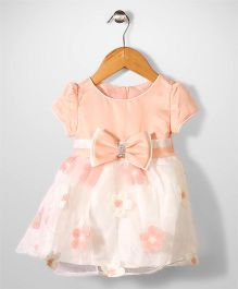 Beautiful Girl Bow & Flower Print Frock - Light Peach & White