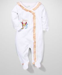 Babyhug Full Sleeves Sleep Suit Butterfly Print - Peach And White