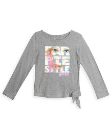 Barbie Full Sleeves Top Graphic Print - Light Grey