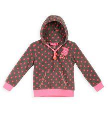 Barbie Full Sleeves Hooded Sweatshirt Polka Dot Print - Brown
