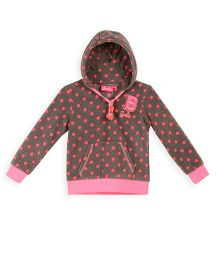 Barbie Full Sleeves Hooded Sweatshirt Polka Dot Print - Brown