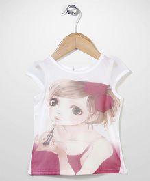 Babyhug Cap Sleeves Party Wear Top Digital Print - White Pink