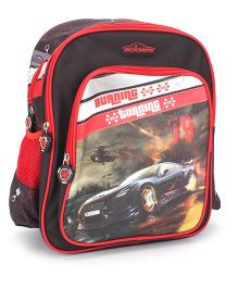 Majorette Burning Turning Print Backpack Black & Red - 14 inches
