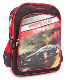 Majorette Burning Turning Print Backpack Black & Red - 18 inches