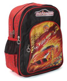 Majorette Fire Car Print Backpack Red - 14 inches
