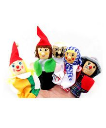 Kuhu Creation Wooden Career Professionals Finger Puppets Multicolor - Set of 6 Pieces