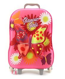 Trolley Bag 3D Butterfly Pink - 17 Inches